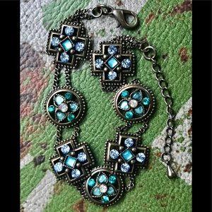 Blue Swarovski Crystal Vintage look Bracelet